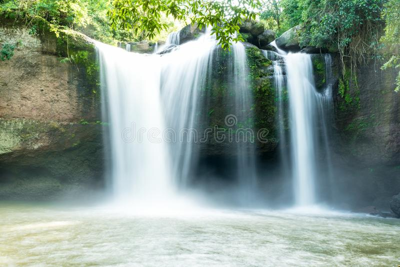 Hew Su Wat Waterfall in Khaoyai National Park of Thailand. Hew Su Wat Waterfall in Khaoyai National Park Tourist attraction in Mu Si, Thailand stock images