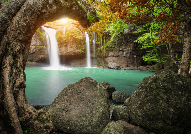 Hew suwat waterfall in khao yai national park thailand. Hew su wat waterfall in khao yai national park thailand royalty free stock image