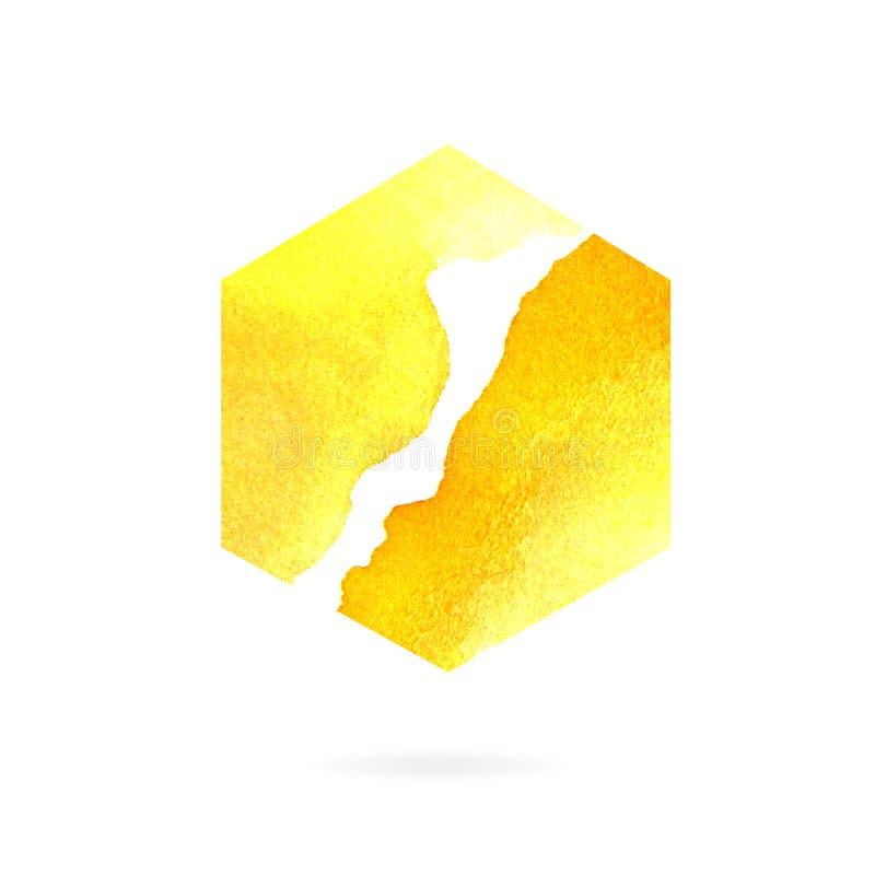 Hexágono abstracto del amarillo de la acuarela ilustración del vector