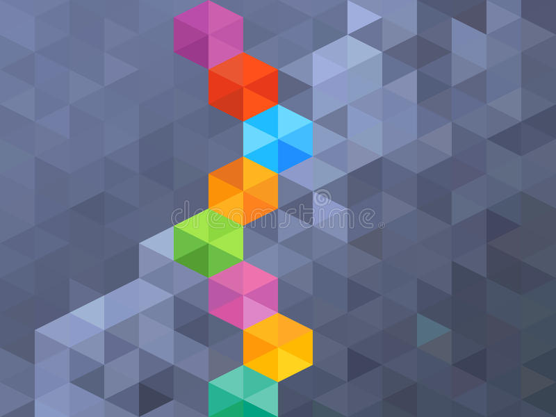 Hexágono azul abstracto y fondo colorido ilustración del vector