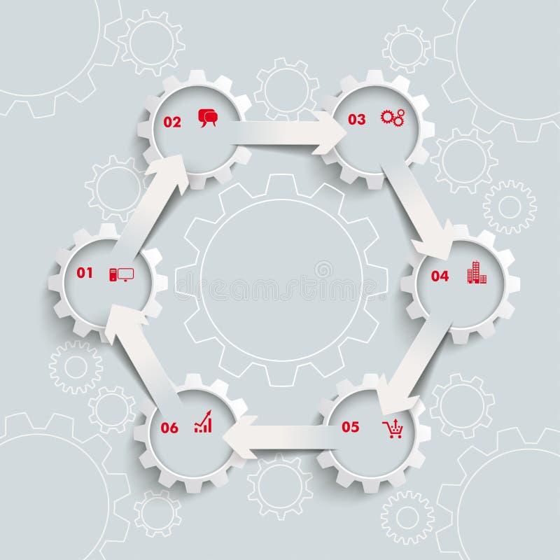 Hexágono blanco del ciclo de 6 flechas de los engranajes 6 stock de ilustración