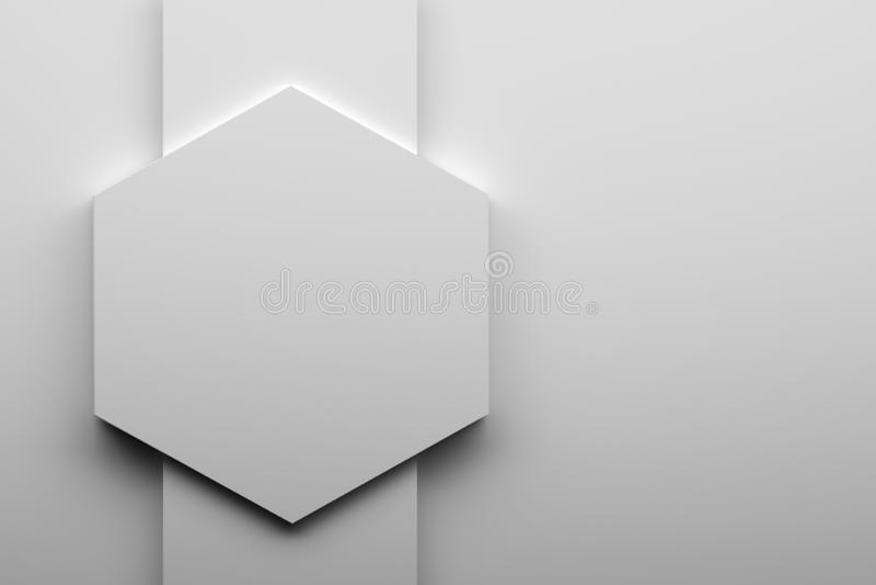 Hexágono blanco grande stock de ilustración