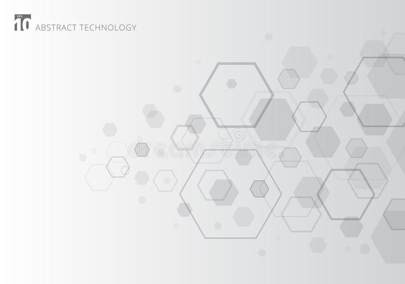 Hexágono cinzento abstrato no fundo branco Elementos geométricos do projeto para comunicações modernas, tecnologia, digital, medi ilustração stock