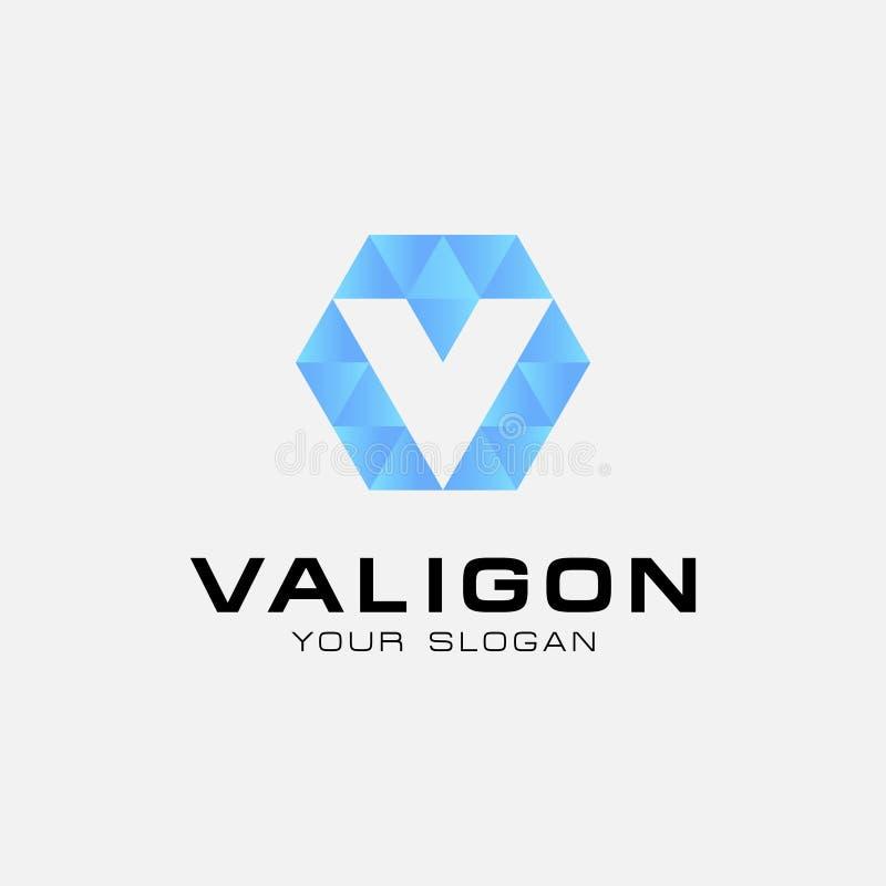 Hexágono con el extracto del logotipo de la letra inicial v simple - vector libre illustration