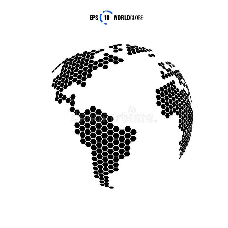 hexágono do globo do mundo do vetor 3D foto de stock royalty free
