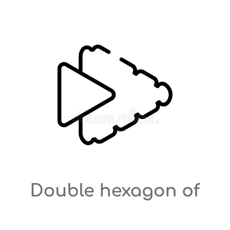 hex?gono doble del esquema del peque?o icono del vector de los tri?ngulos l?nea simple negra aislada ejemplo del elemento del con stock de ilustración