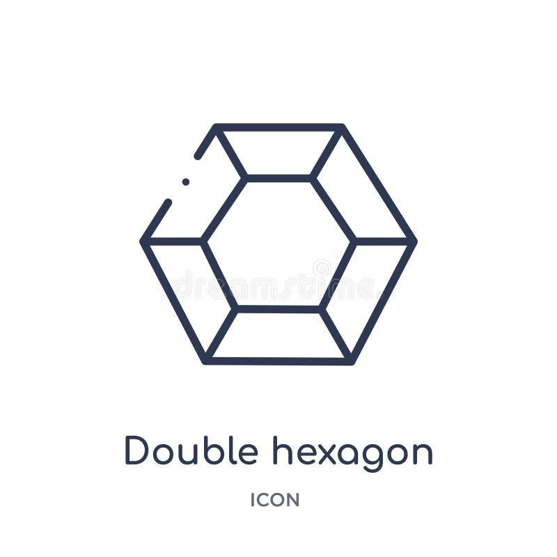 Hexágono doble linear del pequeño icono de los triángulos de la colección del esquema de la geometría Línea fina hexágono del dob ilustración del vector