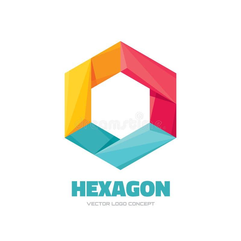 Hexágono - ejemplo del concepto de la plantilla del logotipo del vector Muestra poligonal geométrica Símbolo abstracto del asunto libre illustration