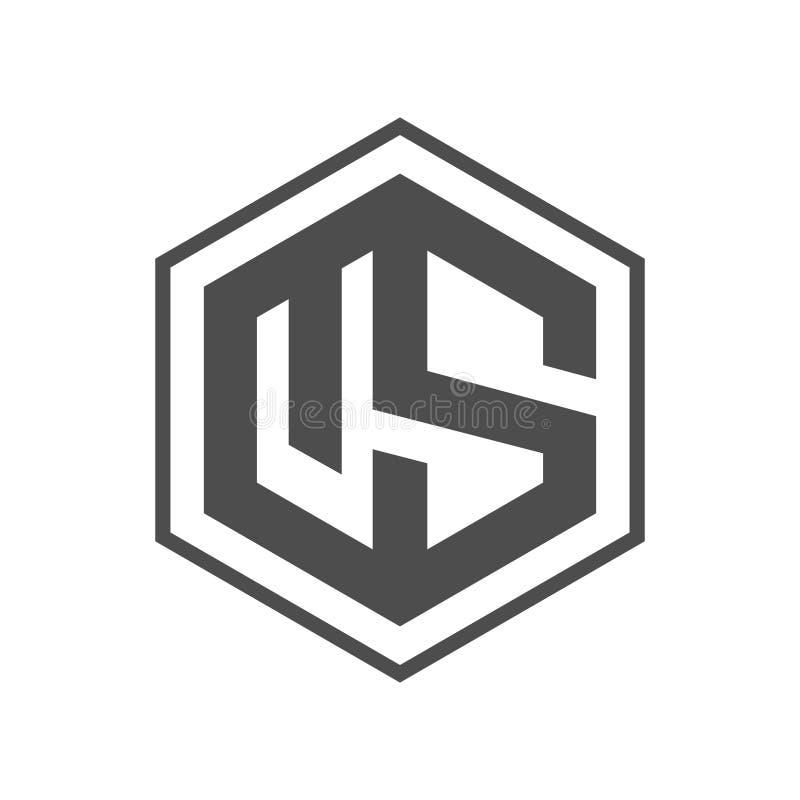 Hexágono - ejemplo del concepto del logotipo del vector del hexágono de la letra de los E.E.U.U. Logotipo poligonal geométrico de stock de ilustración