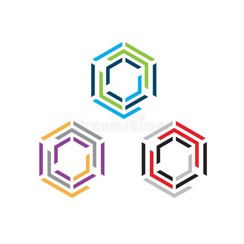 Hexágono - ejemplo del concepto del logotipo del vector Logotipo poligonal geométrico del hexágono stock de ilustración