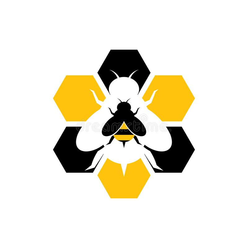 Hexágono Honey Bee Hive Logo Icon doce ilustração stock
