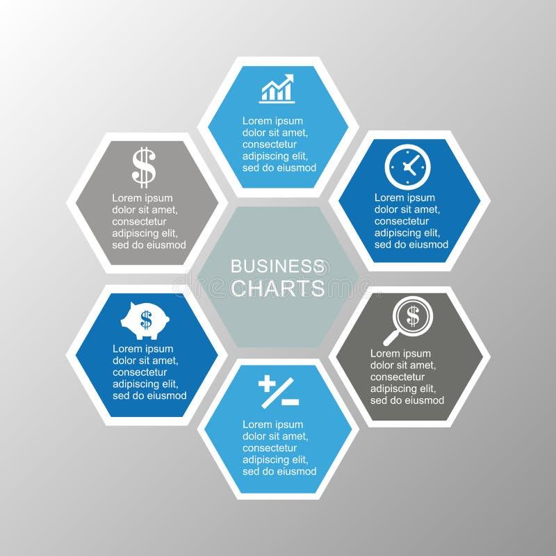Hexágono infographic del negocio fotografía de archivo
