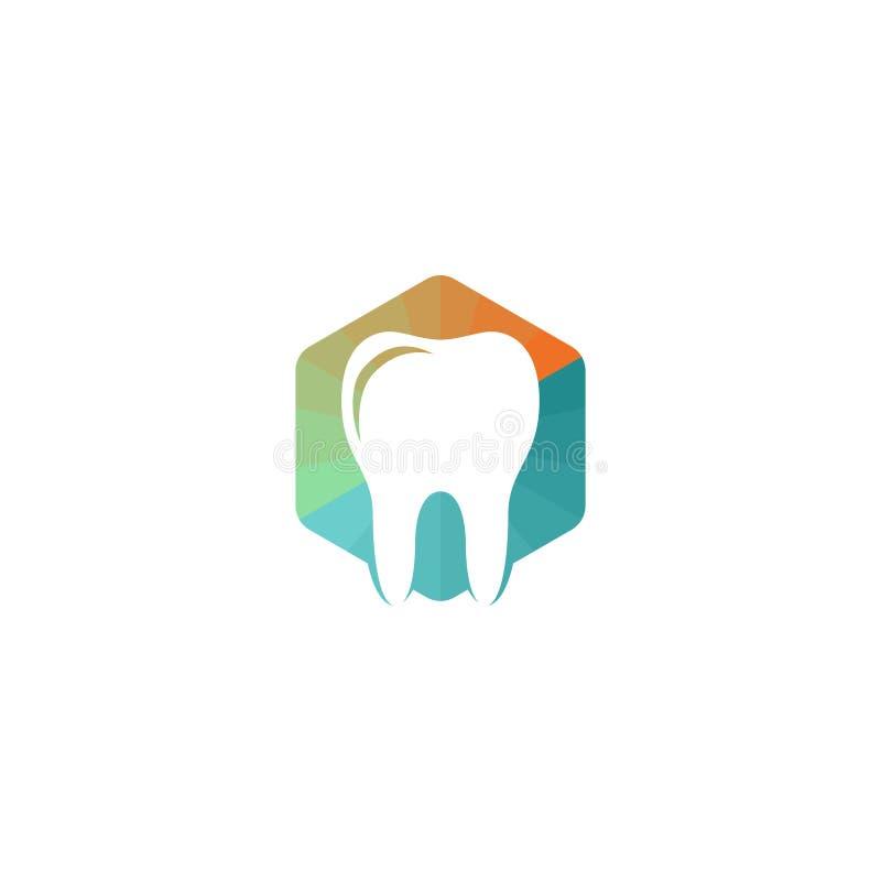 Hexágono poligonal colorido e dente ilustração stock