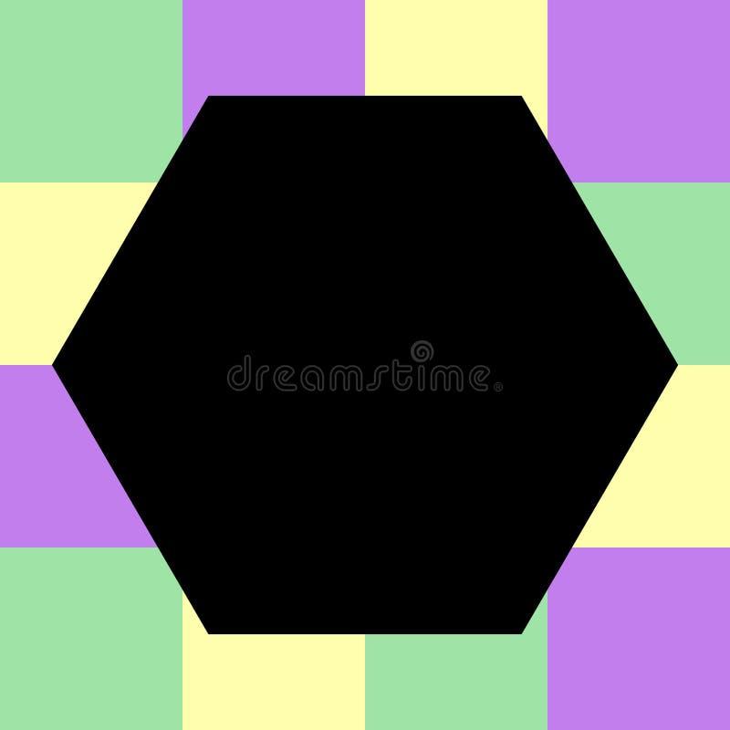 Hexágono preto vazio em quadrados bloco quadriculado da cor pastel, arco-íris da cor do verificador da bandeira do molde multi, d ilustração stock
