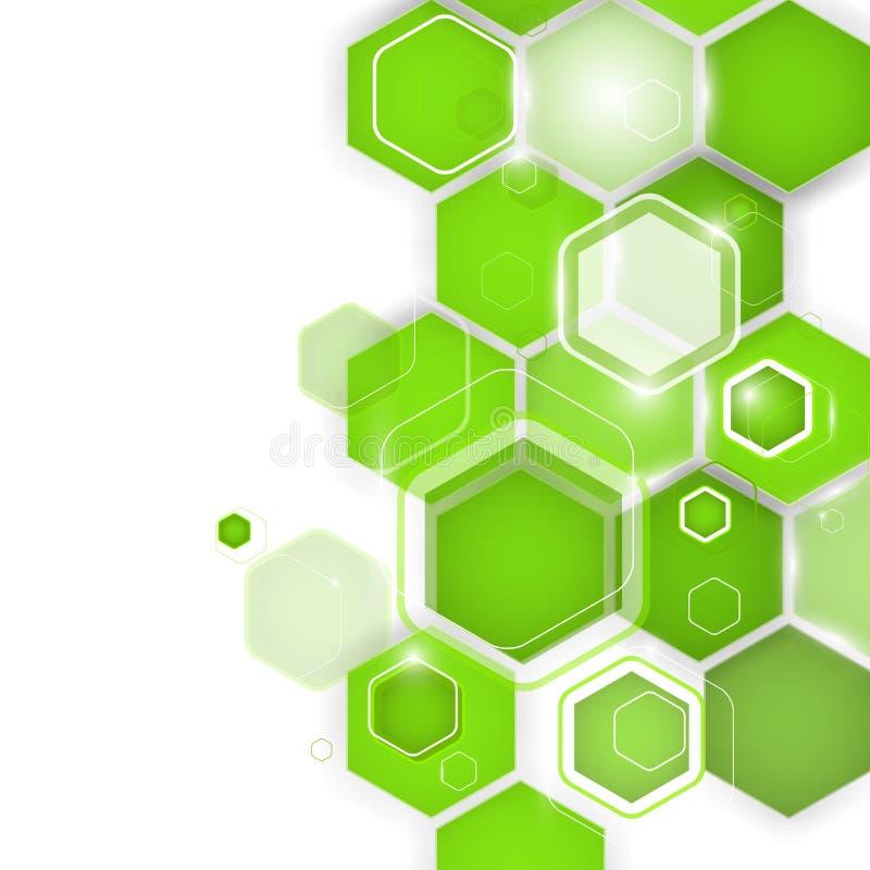 Hexágono verde abstrato do fundo Ilustração do vetor ilustração royalty free
