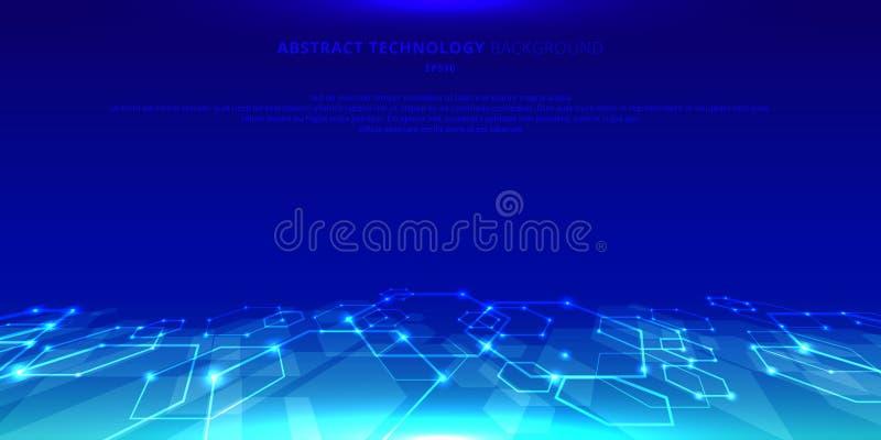 Hexágonos abstractos de la tecnología genéticos y perspectiva social del modelo de la red en fondo azul Elementos geométricos fut libre illustration
