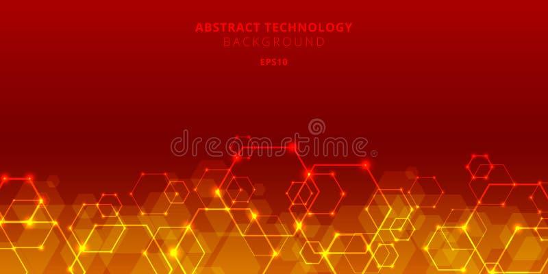 Hexágonos abstratos da tecnologia genéticos e teste padrão social da rede no fundo vermelho Hexágono geométrico futuro dos elemen ilustração do vetor