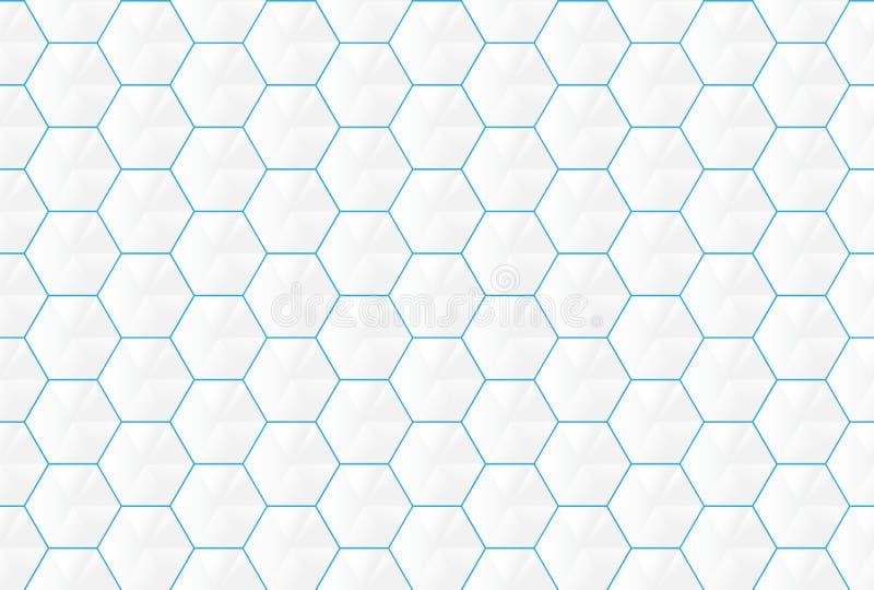 Hexágonos blancos abstractos y líneas azules backgroud inconsútil ilustración del vector