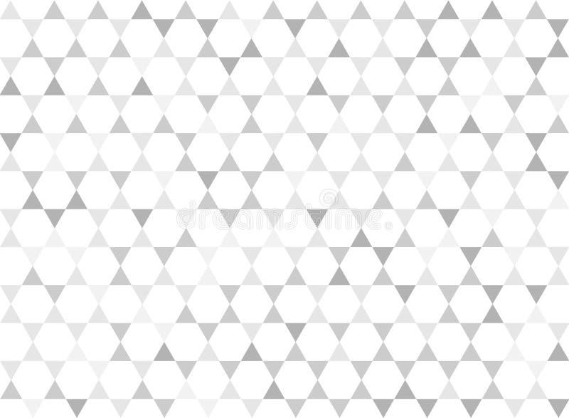 Hexágonos blancos inconsútiles y Grey Triangles Geometric Pattern Background ilustración del vector