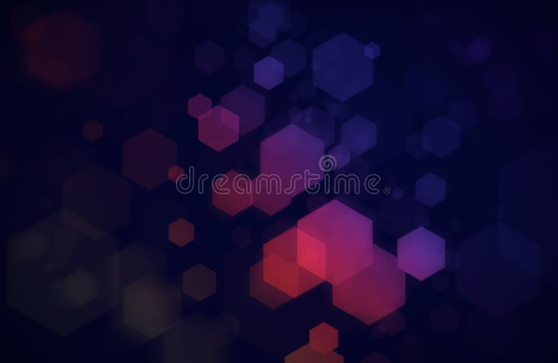 Hexágonos coloridos en fondo azul marino imagenes de archivo