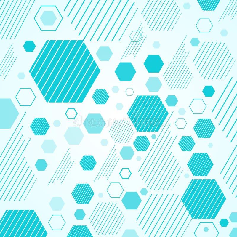 Hexágonos do esquema mecânico abstrato e linhas geométricos azuis pancadinha ilustração do vetor