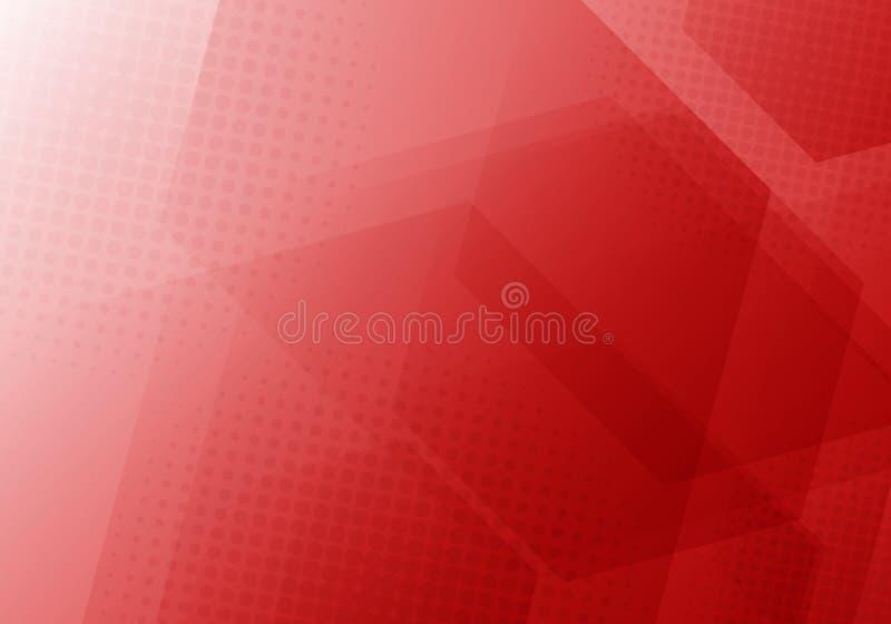 Hexágonos geométricos rojos del extracto que coinciden el fondo con la textura radial de semitono libre illustration