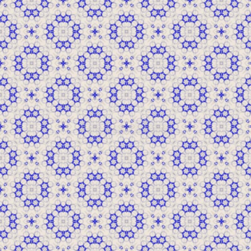 Hexágonos hermosos y círculos azules que repiten el modelo sobre fondo beige ligero ilustración del vector
