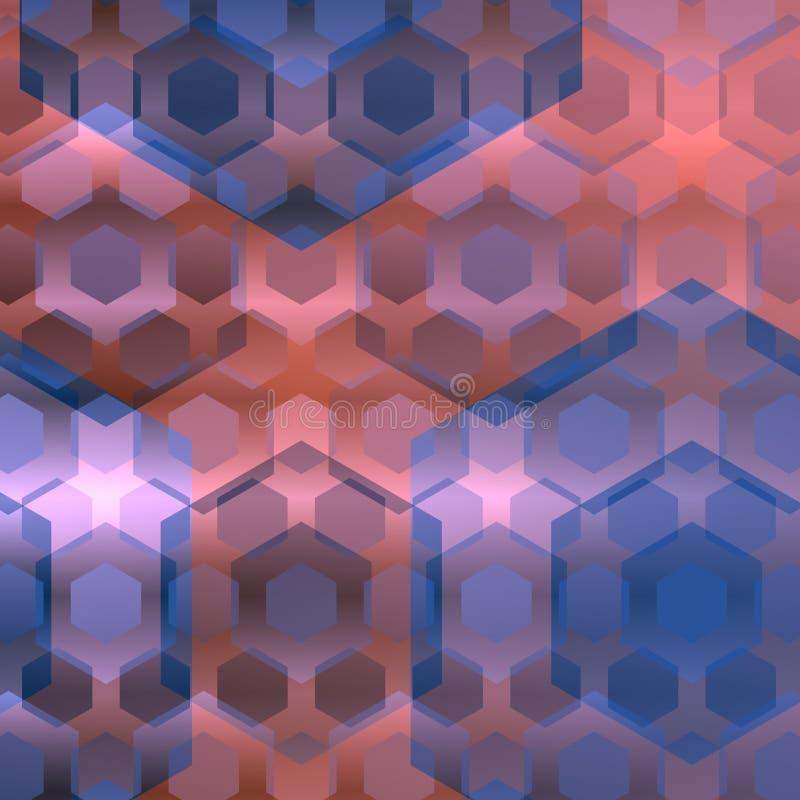 Hexágonos traslapados rosados azules abstraiga el fondo Ejemplo moderno del ordenador Diseño plano Elementos del Web Imagen del e ilustración del vector