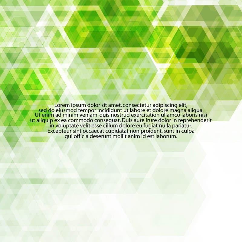 Hexágonos verdes Disposição para anunciar molde da apresentação - Vektorgrafik ilustração royalty free