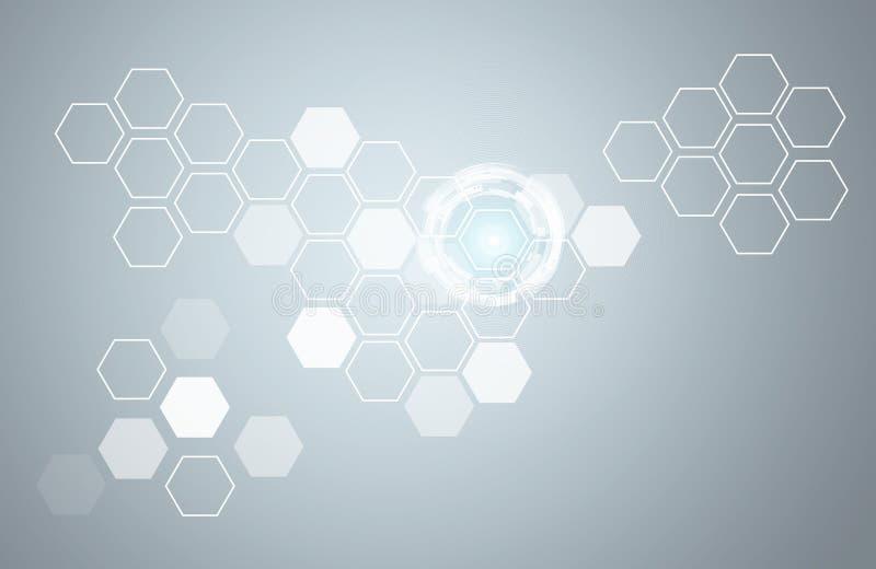 Hexágonos y círculos transparentes del resplandor ilustración del vector