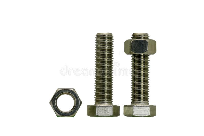 Hex bolt with nuts stainless steel stock photo