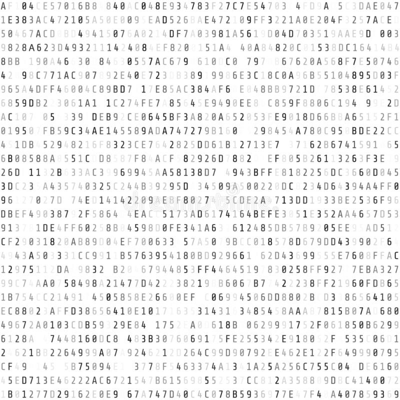 Hex code stream. Abstract digital data element. Matrix background. Vector illustration isolated on white stock illustration