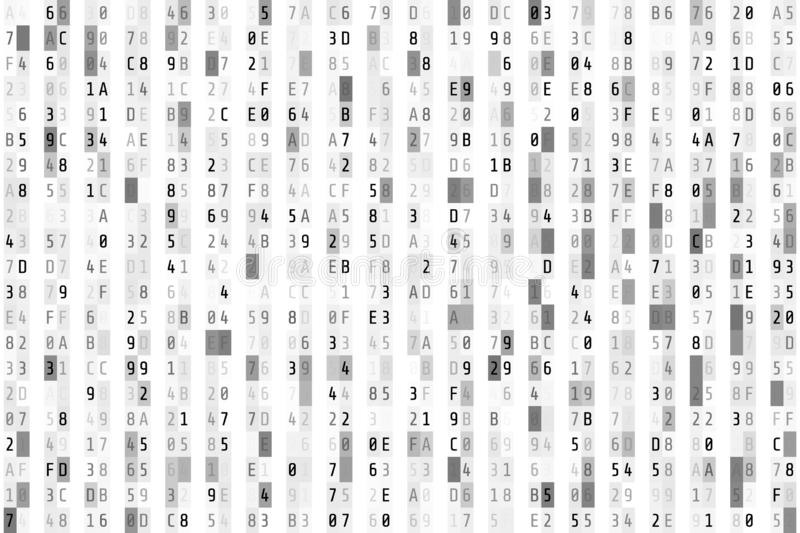Hex code stream. Random hexadecimal code. Abstract digital data element. Matrix background. Vector illustration isolated on white. Background vector illustration