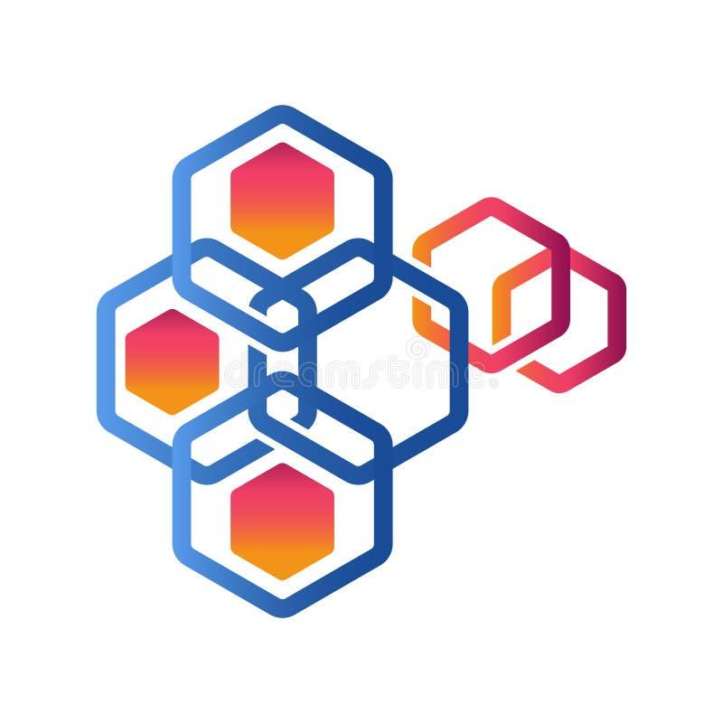 Hex?gono - ejemplo del concepto del logotipo del vector Logotipo poligonal geom?trico del hex?gono stock de ilustración