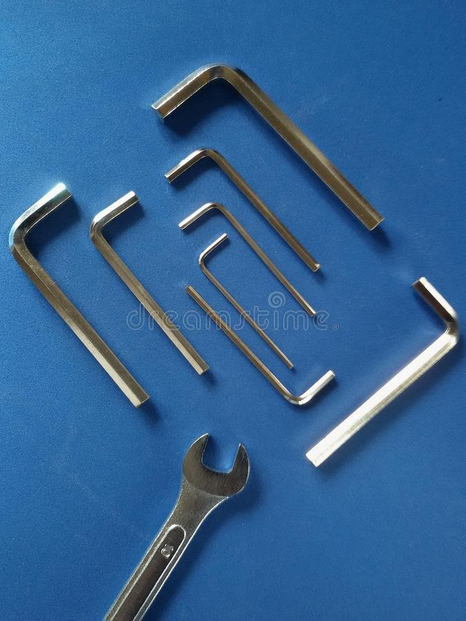Hex keys and span. View of isolated hex keys and span in particular disposition stock image