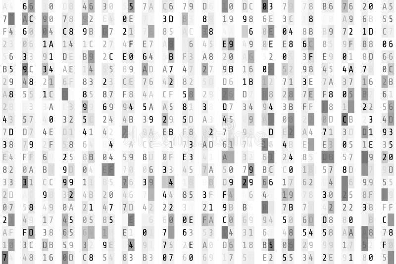 Hex kodu strumień Przypadkowy heksadecymalny kod Abstrakcjonistyczny cyfrowych dane element Matrycy background Wektorowa ilustrac ilustracja wektor