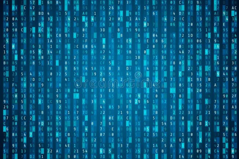 Hex kodu strumień Przypadkowy heksadecymalny kod Cyber ochrony pojęcie Abstrakcjonistyczny cyfrowych dane element Matrycy backgro royalty ilustracja