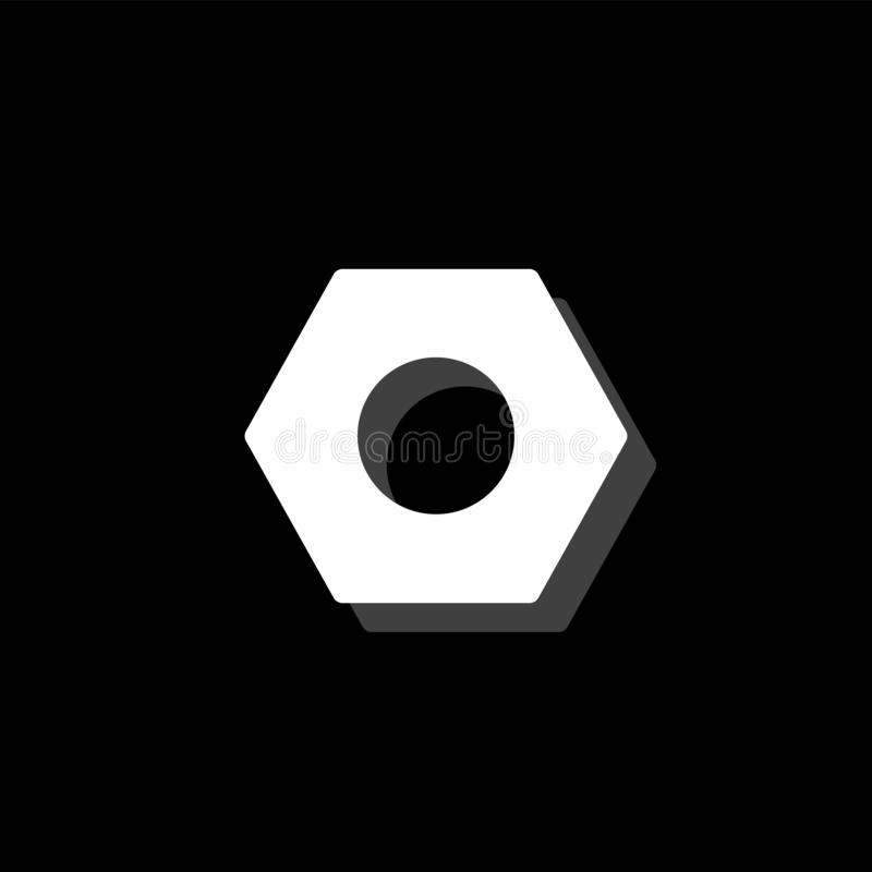 Hex nut icon flat. Hex nut. White flat simple icon with shadow royalty free illustration