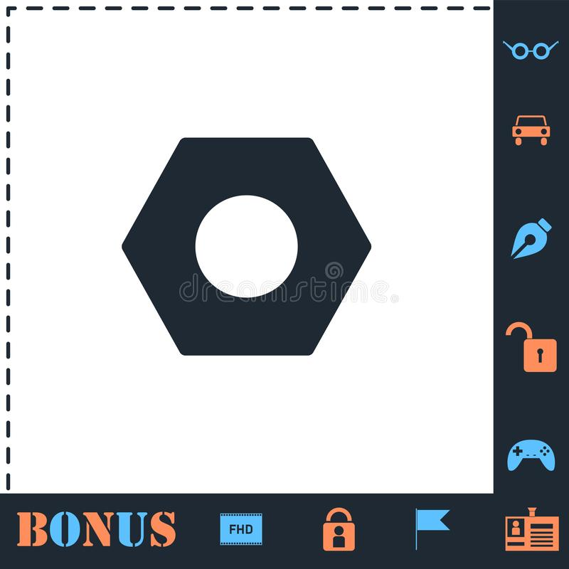 Hex nut icon flat. Hex nut. Perfect icon with bonus simple icons vector illustration