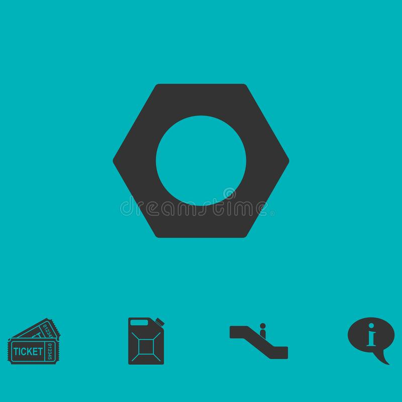 Hex nut icon flat. Simple vector symbol and bonus icon vector illustration