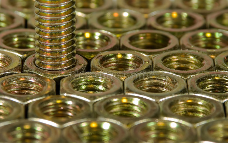 Hex Nuts and Bolt stock image