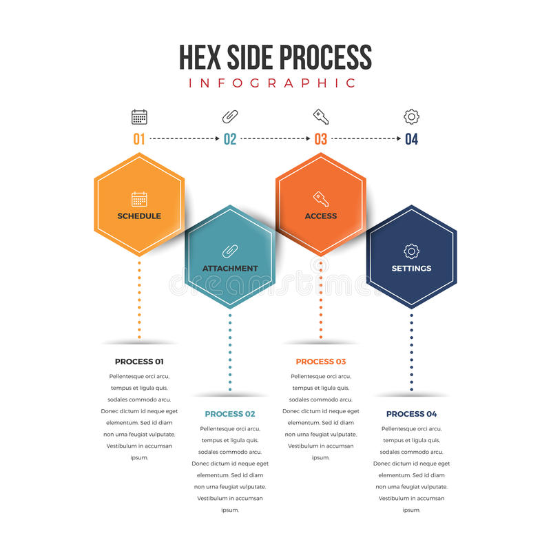 Hex Side Process Infographic. Vector illustration of hexagonal shapes in process infographic design element stock illustration