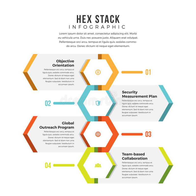 Free Hex Stack Infographic Stock Image - 77980791