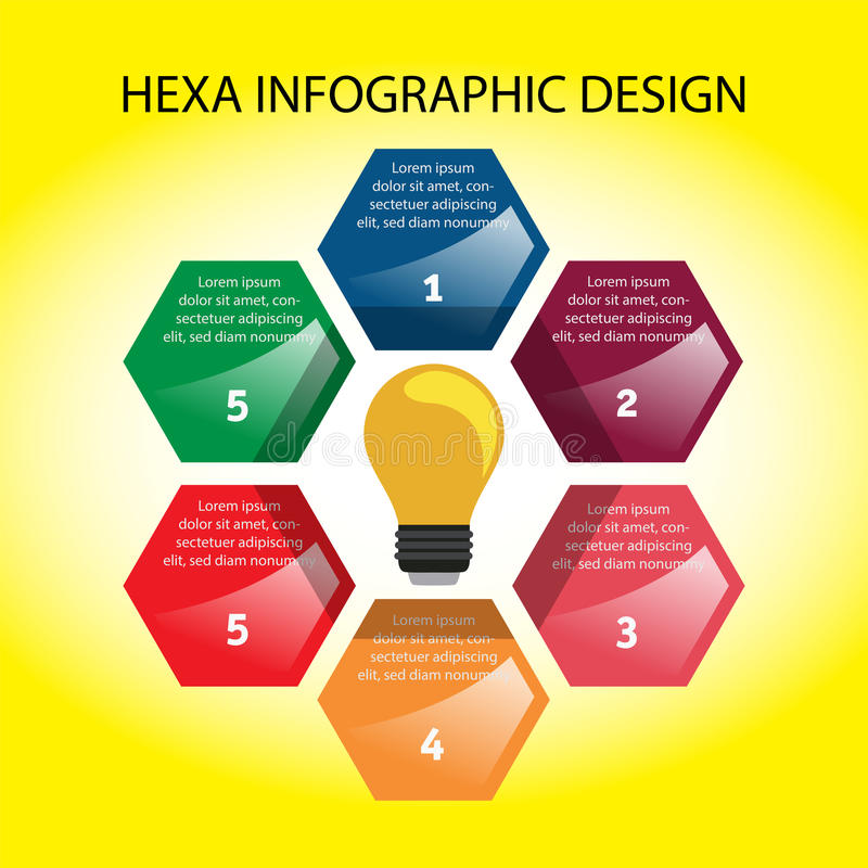 Hexa infographic design royaltyfri illustrationer