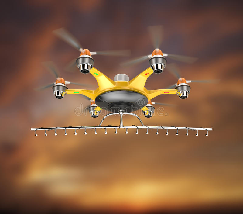Hexacopter com voo do pulverizador da colheita no céu do por do sol ilustração royalty free