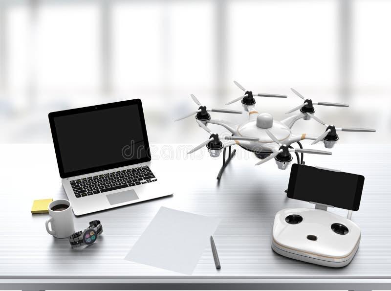 Hexacopter, controlador remoto, portátil na mesa ilustração stock