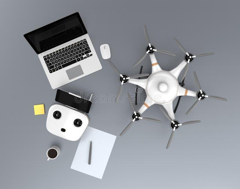 Hexacopter da vista superior, controlador remoto, laptop ilustração do vetor