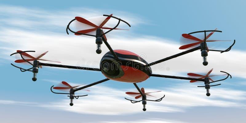 Hexacopter do voo ilustração stock