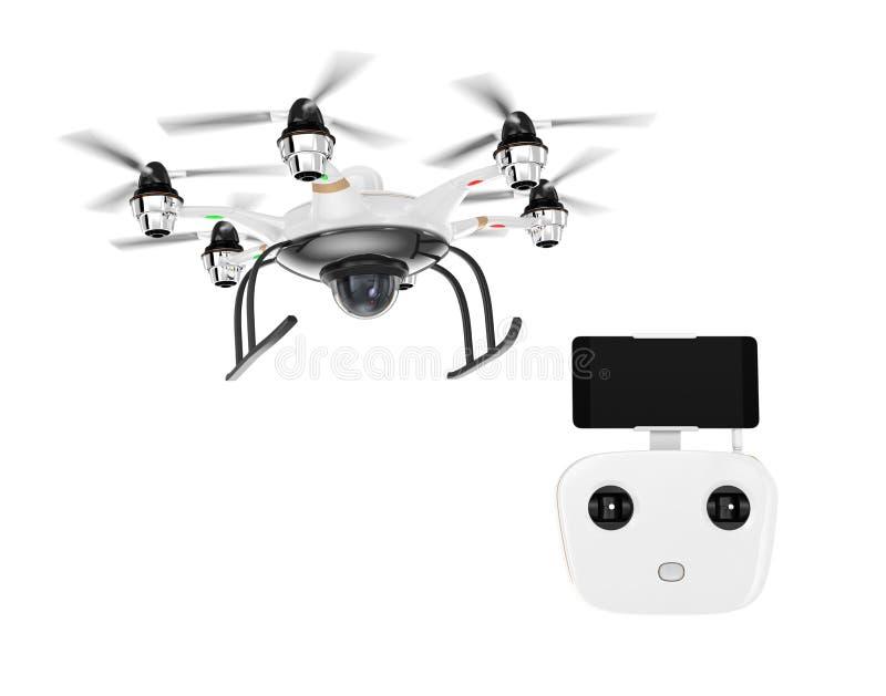 Hexacopter e controlador remoto isolados no fundo branco ilustração stock