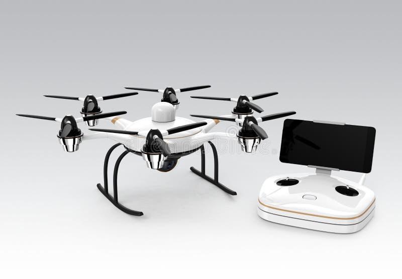 Hexacopter e controlador remoto no fundo cinzento ilustração stock